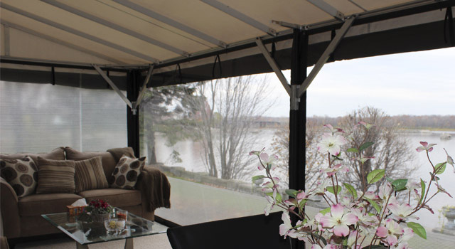 Stationary terrace awnings d cor au vent - Toile transparente pour pergola ...